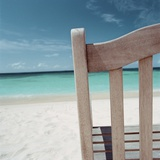 Back of Bench at the Beach Photographic Print