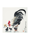 Rooster and Chicks Giclee Print by Guozen Wei