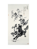 Eight Horses Reproduction proc&#233;d&#233; gicl&#233;e par Guozen Wei