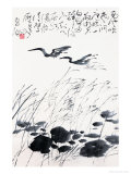 Birds over Lake Giclee Print by Deng Jiafu
