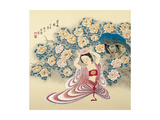 Wearing a Flower on Her Head Giclee Print by Zhenhua Wang