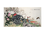 Birds, Peacock and Flowers in Spring Giclee Print by Hsi-Tsun Chang