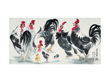 Chickens Bring Luck Reproduction proc&#233;d&#233; gicl&#233;e par Guozen Wei
