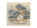 Playing Music by Lotus Pond Giclee Print by Zhenhua Wang
