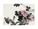 Bird and Blossoms in Autumn Giclee Print by Wanqi Zhang