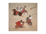 Playing Polo Giclee Print by Zhenhua Wang