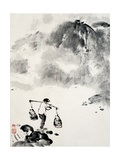 Carrying Water in Mountains Giclee Print by Deng Jiafu