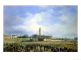 Erecting the Obelisk from Luxor in the Place De La Concorde, 25 October 1836 Giclée-Druck von Francois Dubois