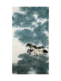 Twin Horses in Bamboo Forest Giclee Print by Wanqi Zhang