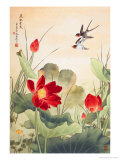Birds over Lotus Pond Posters by Fangyu Meng