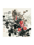 Birds and Red Blossoms by Rock Giclee Print by Wanqi Zhang