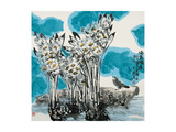 Narcissuses and Bird Giclee Print by Wanqi Zhang