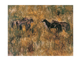 Horses in the Field Giclee Print by Wanqi Zhang