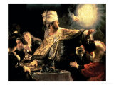 Belshazzar's Feast circa 1636-38 Gicledruk van Rembrandt van Rijn