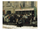 A Soup Kitchen During the Siege of Paris, after 1870 Giclee Print by Henri Pille