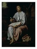 St. John the Evangelist on the Island of Patmos, c.1618 Giclée-Premiumdruck von Diego Rodriguez de Silva y Velazquez
