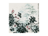 Blossoms and Bamboo by Creek Giclee Print by Wanqi Zhang