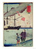 American Naval Vessel in a Japanese Harbour, 1861 Premium Giclee Print