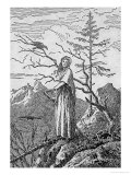 Woman with a Raven, on the Edge of a Precipice Premium Giclee Print by Caspar David Friedrich