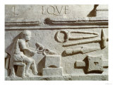 Relief Depicting a Blacksmith's Shop and Tools Reproduction procédé giclée