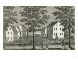 "Shaker Houses in Enfield, from ""Connecticut Historical Collections,"" by John Warner Barber, 1856 Giclee Print"