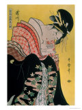 Takigawa from the Tea-House, Ogi Gicleetryck av Kitagawa Utamaro