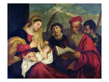 Madonna and Child with Ss. Stephen, Jerome and Maurice Giclee Print by  Titian (Tiziano Vecelli)