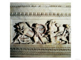 Alexander Sarcophagus, Detail of Soldiers Attacking a Lion, circa 325-300 BC Giclee Print