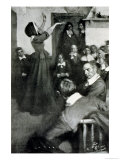 "Anne Hutchinson Preaching in Her House in Boston, 1637, Illustration from ""Colonies and Nation"" Giclee Print by Howard Pyle"