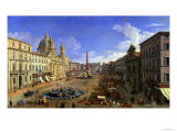 View of the Piazza Navona, Rome Reproduction procédé giclée par Canaletto