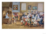 An Early London Coffee House, Signed A.S, circa 1705 Giclee Print