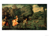The Flight into Egypt, 1500s Giclee Print by  Titian (Tiziano Vecelli)
