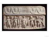 Sarcophagus Depicting the Deceased and the Four Seasons, from Carthage, Roman, 4th Century Giclee Print