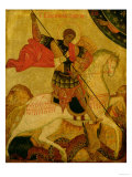 St. George, Russian Icon, 15th Century Giclée-tryk