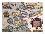 Map of Zeeland, by Abraham Ortelius, Mapmaker of Antwerp, Honoring Research of Jacob Van Deventer Giclee Print