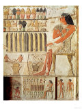 The Deceased in Front of a Table of Food, Egyptian, Old Kingdom (Wall Painting) Premium Giclee Print