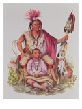 Keokuk or 'Watchful Fox', Chief of the Sauks and Foxes, and His Son, Musewont or 'Long-Haired Fox' Giclee Print by Charles Bird King