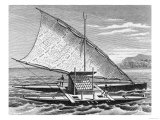 "Fijian Double Canoe, from ""The History of Mankind,"" Vol.1, by Prof. Friedrich Ratzel, 1896 Giclee Print"
