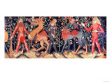Wild Men and Animals, Tapestry, 15th Century Giclee Print