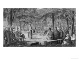 Major Long Holding a Council with the Oto (Missouri) Indians Giclee Print by Samuel Seymour