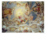 The Last Judgement, Ceiling Painting from the Flattened Dome of the Church (Stucco) Giclee Print by Johann Baptist Zimmermann