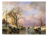 Skating in Holland Giclee Print by Andreas Schelfhout