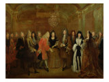 Louis XIV (1638-1715) Welcomes the Elector of Saxony, Frederick Augustus II (1670-1733) Giclee Print by Louis de Silvestre