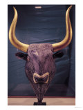 Rhyton in the Shape of a Bull's Head, from Knossos, Minoan, 1700-1400 BC (Marble and Gold) Giclee Print