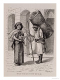 "Mexican Tortillera and Straw Mat Seller, from ""The Ancient Cities of the New World"" Giclee Print by Etienne Ronjat"