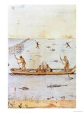 Indians Fishing Giclee Print by John White