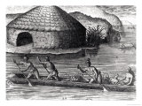 "Florida Indians Storing Their Crops in the Public Granary, from ""Brevis Narratio"" Giclee Print by Jacques Le Moyne"