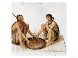 Indian Man and Woman Eating Giclee Print by John White
