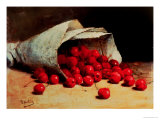 A Spilled Bag of Cherries Giclee Print by Antoine Vollon