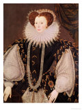 Portrait of Elizabeth Sydenham, Lady Drake, circa 1585 Giclee Print by George Gower